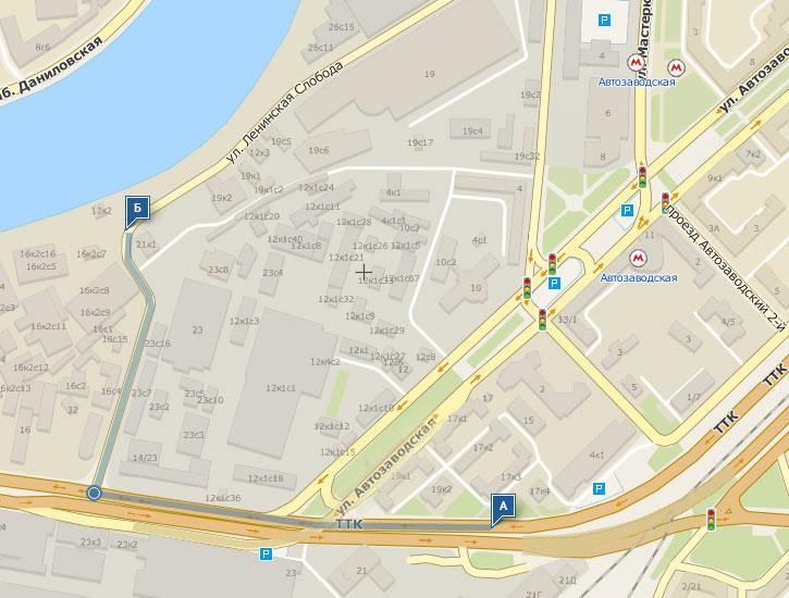 Схема маршрута от метро пешком